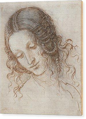 Head Of Leda Wood Print by Leonardo da Vinci