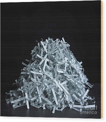 Head Of Shredded Paper Wood Print by Bernard Jaubert