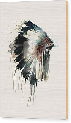 Headdress Wood Print by Amy Hamilton