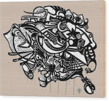 Wood Print featuring the drawing Headdress by Doug Petersen