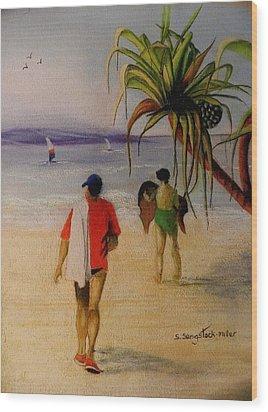 Heading For A Swim Wood Print by Sandra Sengstock-Miller