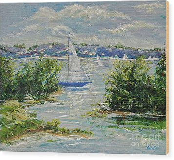 Heading Out Of The Harbor Wood Print by Gail Allen