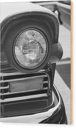 Headlight Black And White Wood Print by Denise Beverly