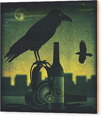 Wood Print featuring the digital art Headphone Raven by Milton Thompson