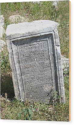 Headstone In The Basilica Church Aphrodisias Wood Print by Tracey Harrington-Simpson