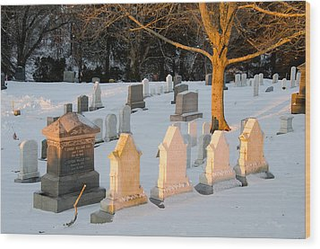 Headstones In Winter 3 Wood Print