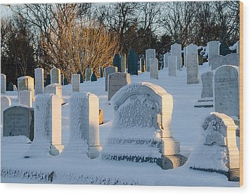 Headstones In Winter Wood Print