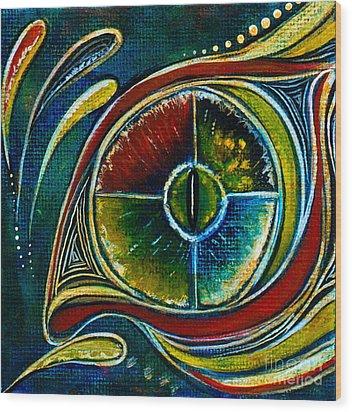 Wood Print featuring the painting Healer Spirit Eye by Deborha Kerr