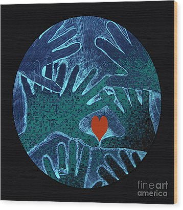 Wood Print featuring the drawing Healing Hands by Patricia Januszkiewicz