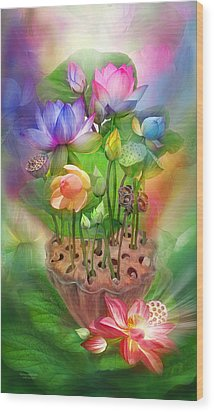 Healing Lotus - Chakras Wood Print by Carol Cavalaris