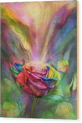 Healing Rose Wood Print by Carol Cavalaris