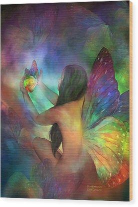 Healing Transformation Wood Print by Carol Cavalaris