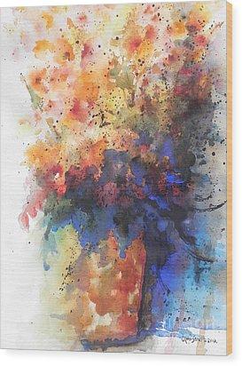 Healing With Blue Wood Print by Chrisann Ellis