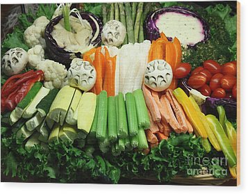 Healthy Veggie Snack Platter - 5d20688 Wood Print by Wingsdomain Art and Photography