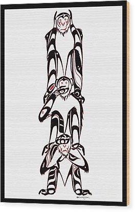 Hear No Evil Speak No Evil See No Evil Totem Wood Print by Speakthunder Berry