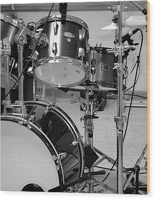 Hear The Music - A Drum Set Up For Recording Wood Print by Ron Grafe