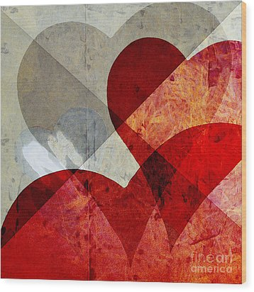 Hearts 8 Square Wood Print by Edward Fielding
