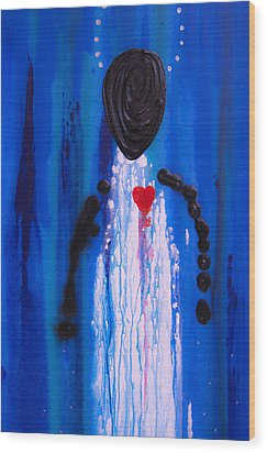 Heart And Soul - Angel Art Blue Painting Wood Print by Sharon Cummings