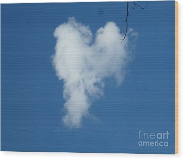 Heart Cloud Bell Rock Wood Print
