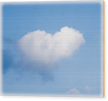 Heart Cloud Wood Print by Shirley Tinkham