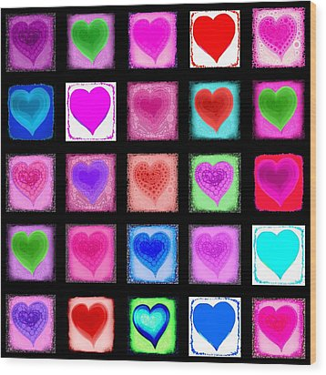 Heart Collage Wood Print by Cindy Edwards
