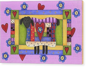 Heart For Ewe Wood Print by Tracy Campbell