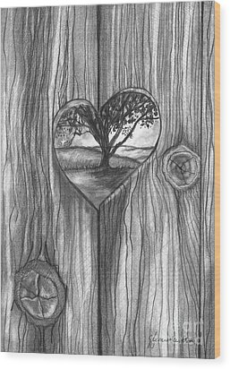 Wood Print featuring the drawing Heart In The Fence by J Ferwerda