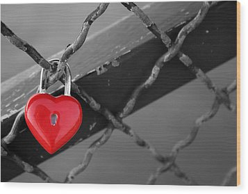 Wood Print featuring the photograph Heart Lock by Lisa Parrish