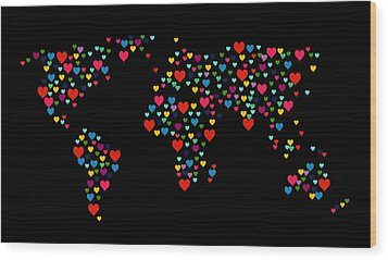 Heart Map  Wood Print by Mark Ashkenazi
