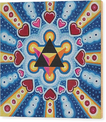 Heart Merkaba Wood Print by Christopher Sheehan