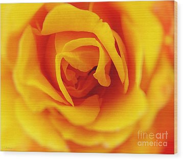 Heart Of A Rose Wood Print by Ella Kaye Dickey