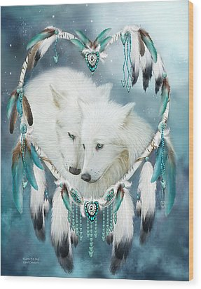 Heart Of A Wolf Wood Print by Carol Cavalaris