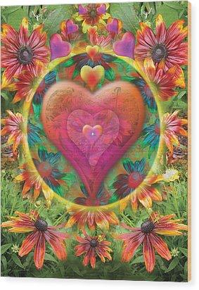 Heart Of Flowers Wood Print by Alixandra Mullins