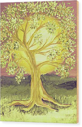 Heart Of Gold Tree By Jrr Wood Print by First Star Art