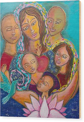 Heart Of The Family Wood Print by Havi Mandell