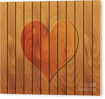 Heart On Wooden Texture Wood Print by Michal Boubin
