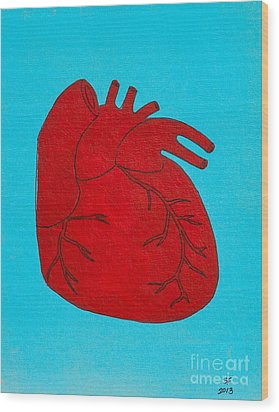 Heart Red Wood Print by Stefanie Forck