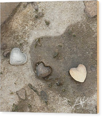 Heart Rock Love Wood Print by Artist and Photographer Laura Wrede
