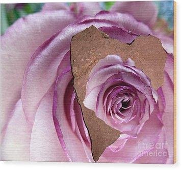 Heart Rock Neptune Rose Wood Print by Marlene Rose Besso
