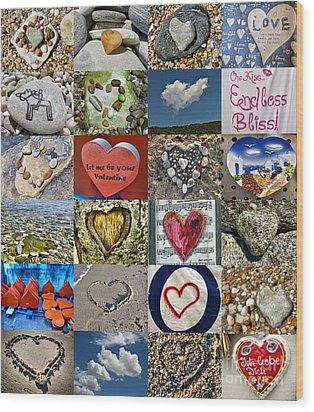 Heart Shape Collage  Wood Print by Daliana Pacuraru