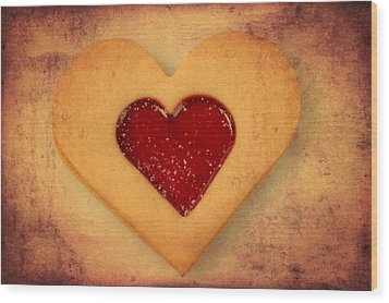 Heart Shaped Cookie With Texture Wood Print by Matthias Hauser
