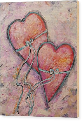 Heart Strings Wood Print by Carol Suzanne Niebuhr
