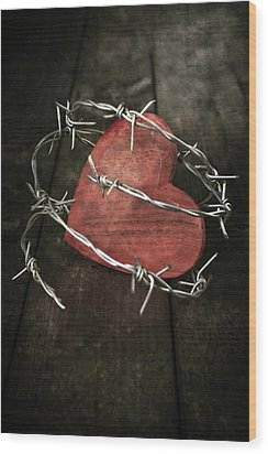 Heart With Barbed Wire Wood Print by Joana Kruse