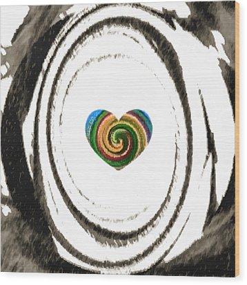 Wood Print featuring the digital art Heart Within by Catherine Lott