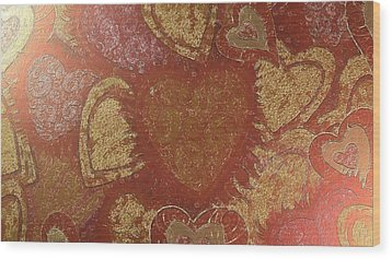 Wood Print featuring the digital art Hearted In Gold Silk by Catherine Lott