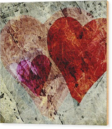 Hearts 10 Square Wood Print by Edward Fielding