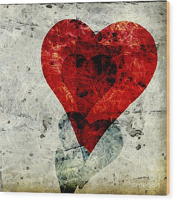 Hearts 3 Square Wood Print by Edward Fielding