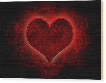 Heart's Afire Wood Print by Beverly Stapleton