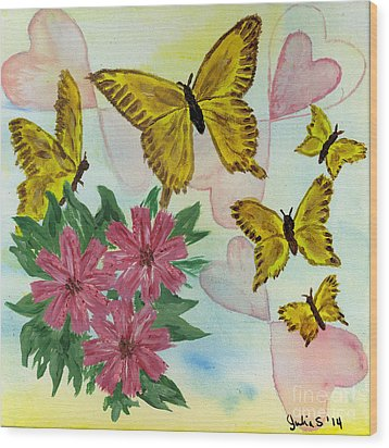 Hearts And Butterflies Wood Print