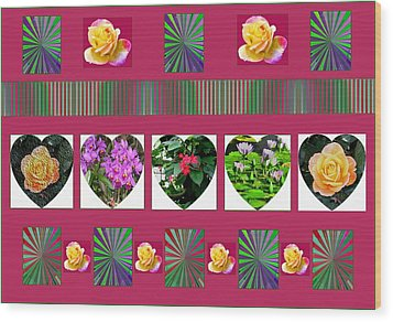 Hearts And Flowers 2 Wood Print by Marian Bell